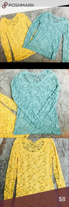 Floral Lace Long-Sleeved Shirt Material is see-through with a floral, lace detail throughout entire shirt. Yellow is a medium and blue is a large. Both fit snug so I would recommend ordering a size up! Great condition! Only worn a few times. $8 for one $10 for both:) Charlotte Russe Tops Tees - Long Sleeve