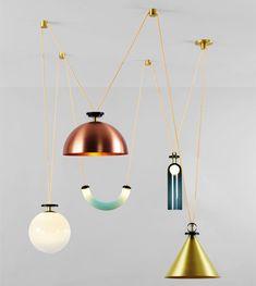 Lampade, forme geometriche, colori e metalli. Pendants, geometric shapes, colours and metals. Shape Up, @ladiesgentlemen http://www.ladiesandgentlemenstudio.com/#hello for Roll & Hill http://www.rollandhill.com #vemmetallo