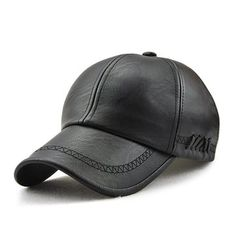 2373f11815d Men Lace-up PU Leather Baseball Caps Outdoor Winter Warm Dad Hat Adjustable  Cap.