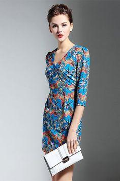 2d5bf25e7871 Blue Print V Neck Mini Dress Romantic Mood