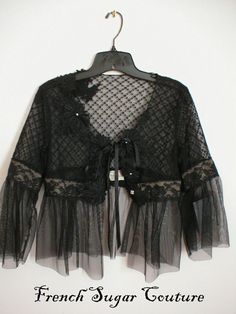 Altered Couture - French Sugar Noir Lace and Tulle Jacket - As featured in Altered Couture Magazine