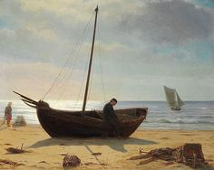Laurits Tuxen - Fisher boy in a boat on the beach