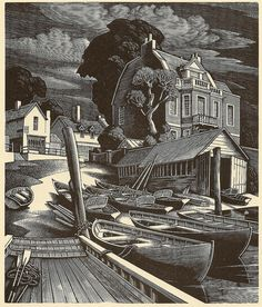 The Ferry - wood engraving by George Mackley, 1951