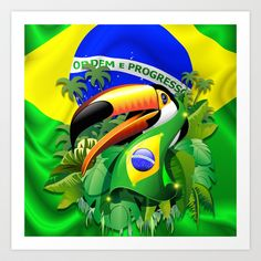 For all my Brazil friends out there. Get a t-shirt with this too cute toucan! Toco Toucan with Brazil Flag Art Print by Bluedarkat Lem - $15.60 #toucan #brazil