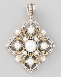 Kassandra Pearl Enhancer: Konstantino pendant: Freshwater cultured pearls, Sterling silver & 18-karat yellow gold with scrollwork. Handcrafted in Athens, Greece / Neiman Marcus