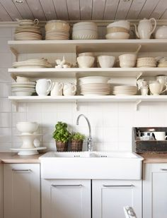 Simple, White Cottage Kitchen: Love the Open Shelving, White China, Country Sink