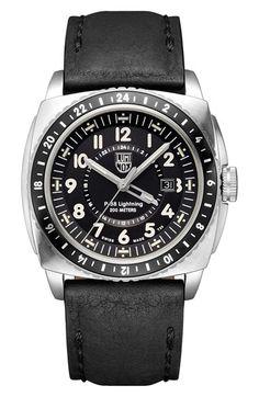 Luminox 'P-38 Lightning GMT' Leather Strap Watch, 44mm