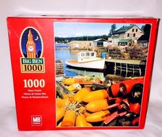1000 Piece Jigsaw Puzzle Port Clyde Maine MB Hasbro Big Ben Fishing Village  #BigBen