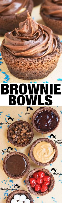 Learn how to make quick and easy BROWNIE BOWLS, ready in 30 minutes and made with simple ingredients. Change the filling, frosting and decorations to fit theme of any event. From cakewhiz.com {Ad} #DoughBoySurprise