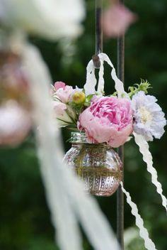 wedding decoration idea - flower in jar