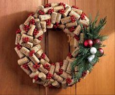 Christmas Crafts wine cork wreath <3 this idea!