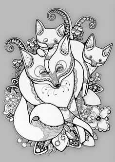 Good concept for tattoo - I'd want the mumma fox to look like my main design, but throw in six cheeky cubs and it's a winner!