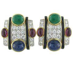1stdibs.com | David Webb Gold Platinum Gemstone Diamond Earrings. 14 k USD