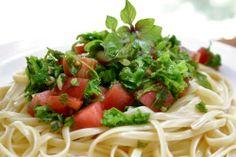 Basil, Kale and Heirloom TomatoLinguini