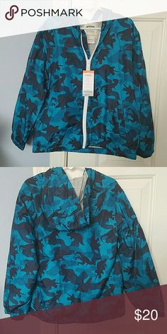 Gymboree Rain/light winter jacket Fun Dinosaur camouflage pattern, in blue tones, perfect for spring or fall. Gymboree Jackets & Coats Raincoats