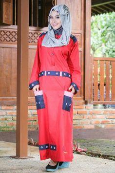 baju muslim modis warna merah cabe sangat cocok sebagai baju muslim wanita masa kini. dapatkan di sannyfa.com