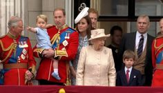British Monarchy on Twitter:  Trooping the Colour 2015, June 13, 2015-Prince of Wales, Prince George, Duke and Duchess of Cambridge, Prince Harry, Queen Elizabeth, James, Viscount Severn, Duke of York