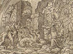 sorores Nocte vocat genitas : Juno ruft die Schwestem der Nacht,die Furien.(Virgil Solis, Edition 1581)