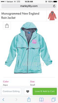 Monogrammed New England Rain Jacket #aqua #small #interlock #OHA #female #pepto-pink