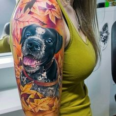 Fall-themed dog tattoo by Alex Noir. Tattoos Skull, Dog Tattoos, Animal Tattoos, Body Art Tattoos, Girl Tattoos, Sleeve Tattoos, Tatoos, Arm Tattoo, Piercing Tattoo