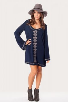 Boho Embroidered Dress - Long Sleeve Dress - Casual Dress - $46.00 | HER. Boutique