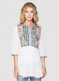Johnny Was Rayon Petals Embroidered Trim Blouse in White - #bohochic