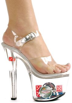 Clear poker heels