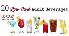 Kick back and sip on a nice adult beverage without all the carbs and sugar. I've got 20 Low Carb Adult Beverage recipes for you to enjoy. Low Carb Cocktails, Healthy Alcoholic Drinks, Yummy Drinks, Diabetic Drinks, Low Carb Bread, Low Carb Keto, Low Carb Desserts, Low Carb Recipes, Paleo Recipes
