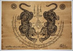 Arte tradicional tailandés de talismán Tiger Leap pares de