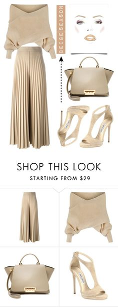 """""""#BeigeSeason"""" by memelondon ❤ liked on Polyvore featuring Givenchy, WithChic, ZAC Zac Posen and Jimmy Choo"""