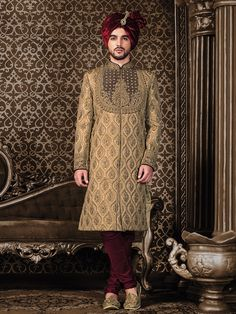 Shop Classy beige silk sherwani online from G3fashion India. Brand - G3, Product code - G3-MSH0527, Price - 32095, Color - Beige, Fabric - Silk,