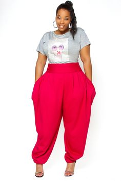 High waist slouch pants in 2019 fashion sense! Curvy Girl Fashion, 80s Fashion, Plus Size Fashion, Fashion Looks, Fashion Stores, Fashion Websites, Womens Fashion, Plus Size Dresses, Plus Size Outfits