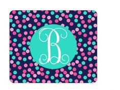 Monogrammed Confetti Dots Mouse Pad  by embellishboutiquellc