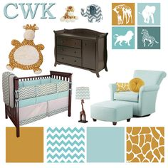 Giraffe Nursery. Teal and grey with goldenrod dark, giraffe yellow. This yellow immediately is more masculine.