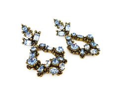 Hollycraft Rhinestone Earrings Powder Blue Long Chandelier Dangle 1950s Vintage Jewelry by zephyrvintage on Etsy