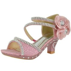 Girls Glitter Rhinestones Jewel Flower Pageant High Heel Sandals Pink Size 2