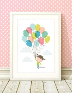 Nursery art girl baby girls balloon print by BubbleGumYears, £10.49