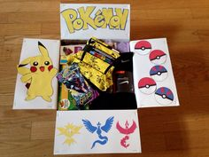 Pokemon Christmas Gifts, Pokemon Gifts, Diy Birthday, Birthday Gifts, Friend Moving Away Gifts, Anniversary Crafts, Deployment Care Packages, Diy Gifts For Boyfriend, Gift Baskets