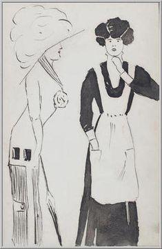 Mario Tozzi 1912: Signora e Cameriera. Disegno matita e inchiostro - cm.(11x17) - Collezione eredi Brunetti-Laderchi Bologna - Archivio n.411.