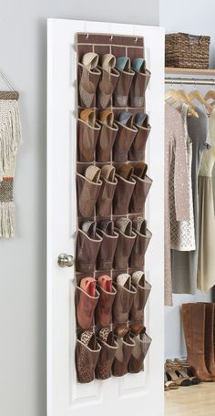 We are all about using dead space to maximize storage space, especially when it comes to shoes! 24 roomy pockets store and organize up to 12 pairs of shoes. The pockets can also be utilized for handbags, scarves, and other accessories.