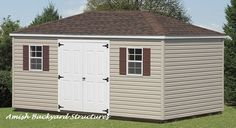 The Provincial shed matches a typical house with a four-sided roof. Customize this storage shed to fit your needs.