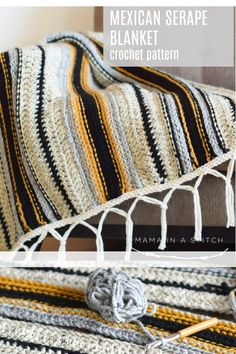 This crocheted blanket is so beautiful and looks woven! I love the boho style and authentic look of the Mexican striped serape. The free crochet pattern includes picture tutorials for the fringe. via Boho Mexican Serape Blanket Crochet Pattern Crochet Afghans, Baby Blanket Crochet, Crochet Stitches, Crochet Blankets, Crochet Granny, Crochet Crafts, Easy Crochet, Crochet Projects, Free Crochet