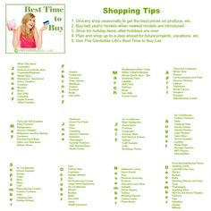 Best Time to Buy #shopping #budget ... oh so helpful!