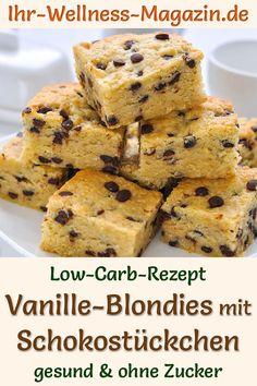 Saftige Vanille-Blondies mit Schokostückchen: Einfaches, schnelles Rezept für einen gesunden Vanillekuchen mit Mandelmehl, Vanille, Frischkäse und Xylit-Schoko-Drops. Der kohlenhydratarme, kalorienreduzierte Rührkuchen ohne Zucker und Getreidemehl gelingt garantiert auch Backanfängern ... Sweet Tooth, Muffins, Clean Eating, Food And Drink, Keto, Healthy Recipes, Breakfast, Drinks, Fitness