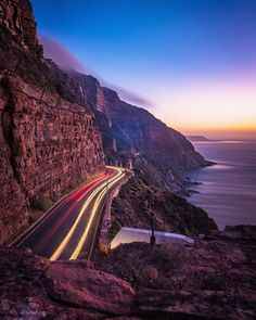 Chapman's Peak drive at sunset🙌🤗, without a doubt one of our favourites. And yes, it is open at the moment 😊.) for the awesome capture 👏👏👏 Cities In Africa, Travel And Leisure, Africa Travel, Cape Town, South Africa, Trip Advisor, The Good Place, Traveling By Yourself, Travel Photography