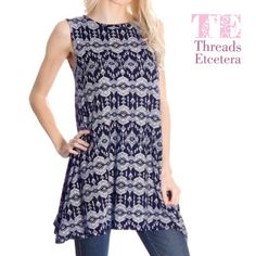 Navy & Taupe Tunic XS,S,M NWT and direct from the distributor, this top is made in the USA! This sleeveless blouse is 95% polyester and 5% spandex for some stretch. The second picture makes the top look black, however it is actually navy and taupe in color. Smoke free home. Tops