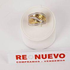 #Anillo# oro bicolor# de 18 klts# de segunda mano# y circonitas# E269717D#segundmano#