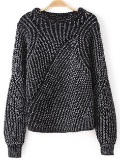 Black Long Sleeve Hollow Knit Loose Sweater 28.33 good sleeve!
