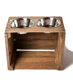 Elevated Dog Bowl Feeder / Reclaimed Wood / By RESCUEPetProducts, $49.00