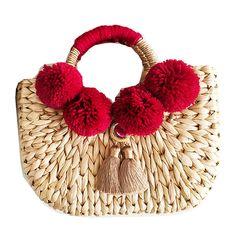 30x21CM Summer Hair Ball Tassel Mirror Decoration Handbag Straw Bag Seaside Vacation Beach Bag A2915